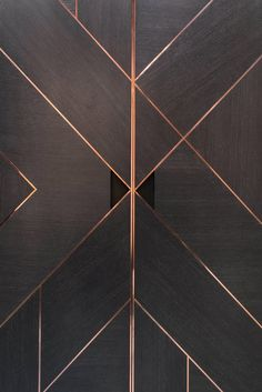 For Sale on - The charcoal oak exterior of this bar is segmented by a copper stringing pattern which directs the path of the wood grain. Within the bar, the copper shelving Bespoke Furniture, Bar Furniture, Furniture Design, Tile Design, Door Design, House Design, Wood Wall Design, Design Logo, Design Homes