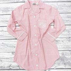 Seersucker Lounge Shirt - Pink