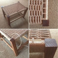 used some recently acquired seat weaving skills to create a small stool from reclaimed lumber. Modern Furniture, Outdoor Furniture, Outdoor Decor, Small Stool, Reclaimed Lumber, Ottoman, Weaving, Cabinet, Create