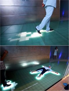LOVE the idea of an interactive floor and could work for many levels within an exhibition - 'Sensacell Interactive Dance Floor' Installation Interactive, Light Installation, Interactive Exhibition, Interactive Projection, Interactive Media, Interactive Design, Design Lab, Digital Signage, Design Museum