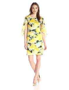 Donna Ricco Women's 3/4 Sleeve Floral Printed Sheath with Flowy Sleeves -- This is an Amazon Affiliate link. You can find more details by visiting the image link.