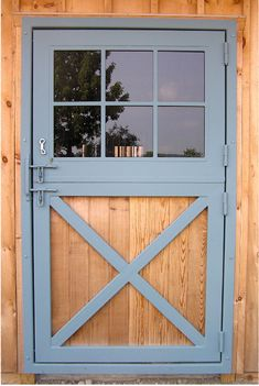 Wooden Solid Dutch Door With Window Interior Barn Doors . Little Shed Into A Coop My Summer Project Shed Doors . Home Design Ideas Diy Barn Door, Sliding Barn Door Hardware, Gate Hardware, Sliding Door, Shed Doors, Garage Doors, Small Barns, Garage Door Design, Barn Garage
