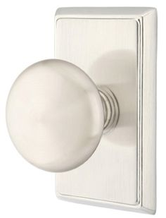 Solid Brass Providence Door Knob Set With Rectangular. Several Finishes Available. Vintage and Modern Style Emtek Door Hardware with Free Shipping Offer.