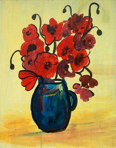 Poppy Vase Paint And Sip, Poppy, Vase, Paintings, Paint, Painting Art, Vases, Painting, Painted Canvas