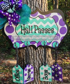 Personalized Chevron & Polkadot Teacher Hall Pass Sign (Purple/Turquoise) Woodworking  Sign  personalize  door decor  door hanger  door decoration  teacher gift  teacher decoration classroom decoration  classroom  classroom decor  teacher decor  teacher christmas  hall passes
