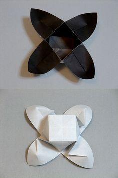 Origami Vase - Parnassus Dish Box Origami, Origami And Kirigami, Origami Paper, Iris Folding, Paper Folding, Paper Art, Paper Crafts, Diy Crafts, Paper Bowls