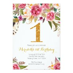 Floral and Gold First Birthday Invitation