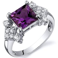 Princess Cut 2.25 carats Alexandrite Cubic Zirconia Ring in Sterling Silver Rhodium Finish Available in Sizes 5 thru 9 -