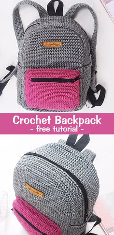Crochet Backpack Rucksack Crochet Backpack Rucksack,Crochet, Knitting, Sewing & Crafting Learn how to crochet this simple backpack. Knit Or Crochet, Crochet Gifts, Crochet For Kids, Crochet Backpack, Diy Backpack, Rucksack Backpack, Crochet Handbags, Crochet Purses, Sacs Tote Bags