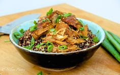 Sticky Crock Pot Chicken with Colored Quinoa. So easy to make. Chicken sweetened with coconut sugar and placed on top of multi- colored quinoa that has a bit of a crunch!