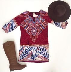 SHOPALIYA.COM  Fabulous Fall Prints! Keep em comin'  Braided Hat $24 in Brown Kiss and Bell Shift Dress $46 Rider Boot $49 #shoponline #shopaliya
