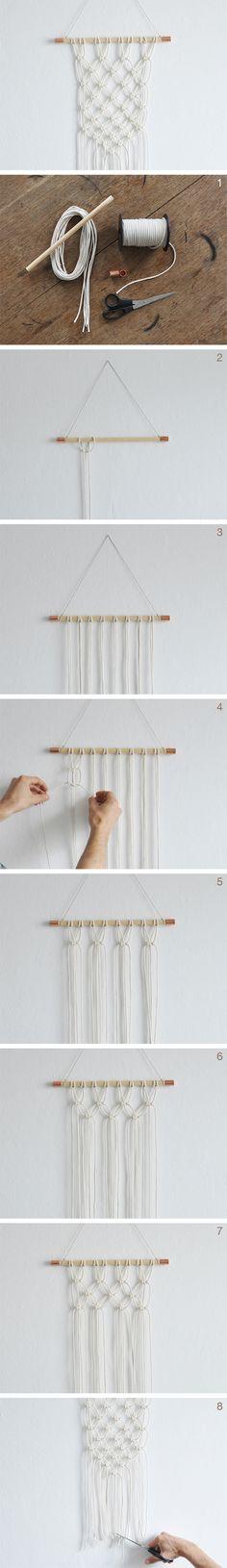 kostenlose DIY Anleitung: DIY: Makramee Wandteppich knüpfen // free DIY tutorial: how to make a macrame wall hanging via DaWanda.com