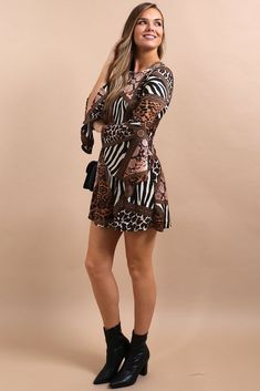 85aac534089f Ann-Marie Animal Print Flute Sleeve Dress. Boutique Stores ...