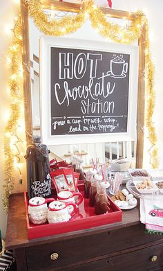 hot cocoa, hot chocolate, mommy and me, christmas, holiday party Entertainment Hot Cocoa Party Christmas Party Ideas For Teens, Adult Christmas Party, Xmas Party, Holiday Parties, Christmas Holidays, Christmas Decorations, Holiday Ideas, Cozy Christmas, Primitive Christmas