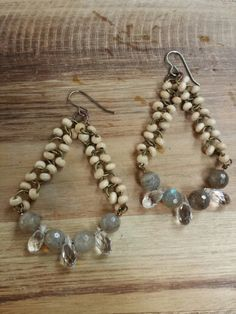 Labradorite and Beachwood #airgwa #earrings