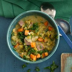 If you have a SLOW COOKER you'll LOVE these nutritious, one-pot meals, like this Split Pea and Greens Soup | health.com