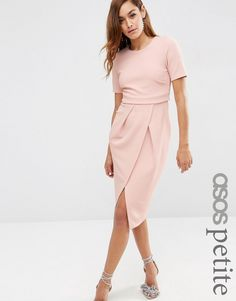 ASOS PETITE Double Layer Textured Wiggle Midi Dress