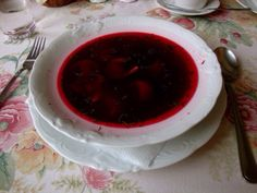 Borscht soup in Krakow, Poland.