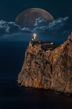 Rising Moon Over the Lighthouse , Cap de Formentor, Mallorca , Spain