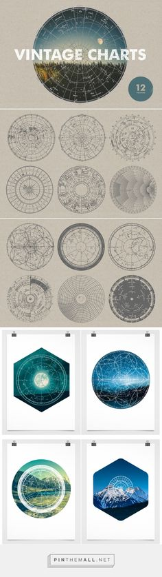 Vintage Charts - 12 Vectors - Graphics - YouWorkForThem