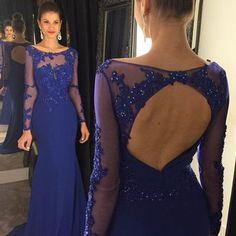 Open back prom dresses, long sleeve prom dress, royal blue prom dress, mermaid prom dress, sexy prom dresses,pd160043  #fashion#promdress#eveningdress#promgowns#cocktaildress
