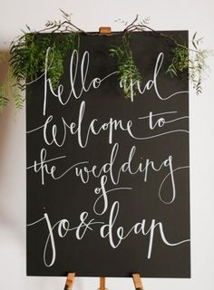 Wedding Ceremony Calligraphy Welcome Sign Calligraphy Welcome, Wedding Calligraphy, Wedding Stationery, Beautiful Calligraphy, Modern Calligraphy, Chalkboard Wedding, Wedding Signage, Chalkboard Art, Our Wedding