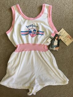 NWT VINTAGE Bonjour Terry Cloth Romper Size Large 1980s fashion watch promo tag   eBay