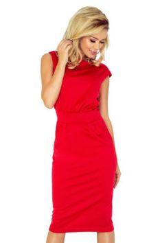 Numoco - Dámske červené elegantné šaty s krátkymi rukávmi 144-2 (2) 1cb108f07f