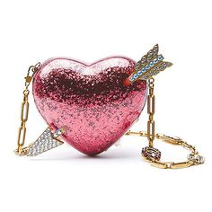 Gucci Embellished Heart Bag (€2.970) ❤ liked on Polyvore featuring bags, handbags, clutches, multi, heart shaped purse, embellished handbags, strap purse, white purse and heart handbag