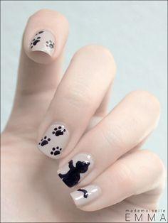 Piggy paint nail polish, Tips for nails. Cat Nail Art, Animal Nail Art, Cat Nails, Fancy Nails, Pretty Nails, Cat Nail Designs, Creative Nails, Nails Inspiration, Glitter Nails