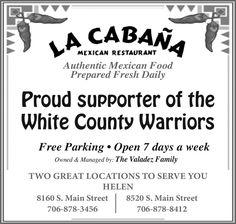 Authentic Mexican Food Prepared Fresh Daily    Free Parking  Open 7 days a week  Owned & M...   La Cabana Mexican Restaurant - Helen, GA #georgia #ClevelandGA #shoplocal #localGA