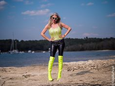 Christina Striewski with black leather pants by in Source by arcanumfashion Leather Pants Outfit, Black Leather Pants, Leather Boots, Thigh High Boots Heels, Heeled Boots, Lederhosen Outfit, Neon Girl, Green Boots, Lady