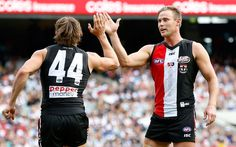 Maverick Weller Photos Photos - David Armitage of the Saints (right) congratulates Maverick Weller of the Saints on a goal during the 2016 AFL Round 03 match between the St Kilda Saints and the Collingwood Magpies at the Melbourne Cricket Ground, Melbourne on April 9, 2016. - AFL Rd 3 - St Kilda v Collingwood