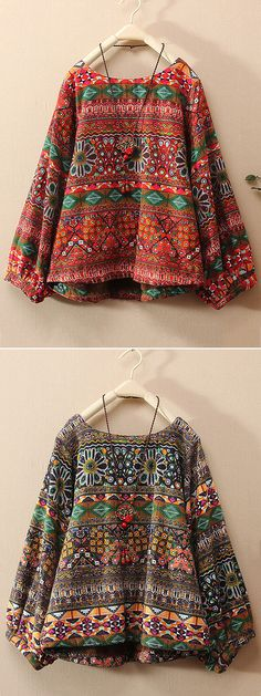 Vintage Floral Printed Long Sleeve Shirt For Women