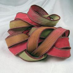 Hand Dyed Silk Ribbons  Crinkle Hand Painted Silk by Quintess, $10.99