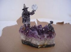 "Pewter Wizard and dragon on amethyst stone $10 4.5"" x 3.5"" x 2"""