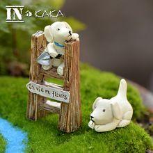 Resina perros lindos con escalera modelo Micro jardín de hadas miniaturas casa juguetes figurines terrario suculentas adornos decoración(China (Mainland))