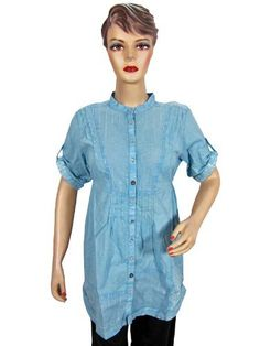 Womens Fashion Long Shirt Boho Tops Blue Color Cotton Tunic Blouses Small Size Mogul Interior. $22.99. Save 36%!