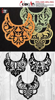 3 Leather Bib Necklace Templates Vector Digital SVG DXF Jewelry Cut Files Cuttable Download Laser Die Cutting Cricut Silhouette JB-1034
