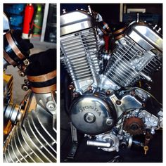 Engine mock-up with copperplated parts Honda Steed, Honda Shadow, Harley Davidson Motorcycles, Bobber, Hot Rods, Man Cave, Bike, Chopper, Engine