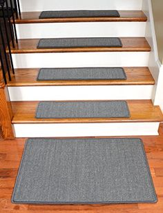 Dean Indoor Outdoor Pet Friendly Tape Free Non Slip Carpet Stair Step Treads Contour Gray 23 X 8 15
