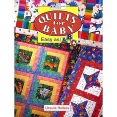 Great source for easy baby quilts with interesting pictures inside log cabin and attic window designs. Loved the result with Eric Carle Brown Bear animal pictures fabrics.