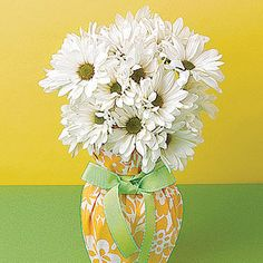 fabric wrapped vase centerpiece
