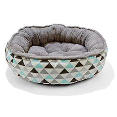 AVAILABLE MOUNT OMMANEY   Plush Pet Bed - Geometric Print, Medium