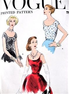 1950s LOVELY Blouses Pattern Very Easy To Make VOGUE 9020 Three StylesDay or Evening Bust 34 Vintage Sewing Pattern