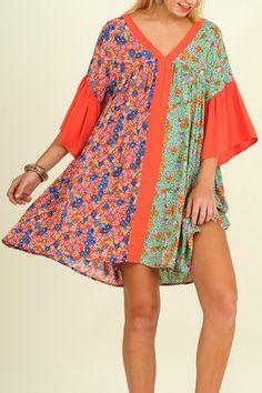 Orange Printed Mini Bell Sleeve Dress   Orange Printed Dress  by Umgee USA. Clothing - Dresses - Printed Kansas