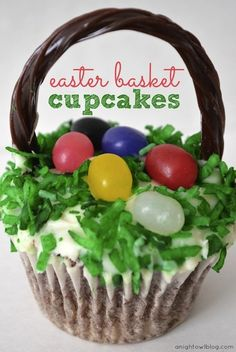Easter basket cupcakes ~ tried these this Easter and they were a hit! Find the chocolate Twizzler vines at Target.