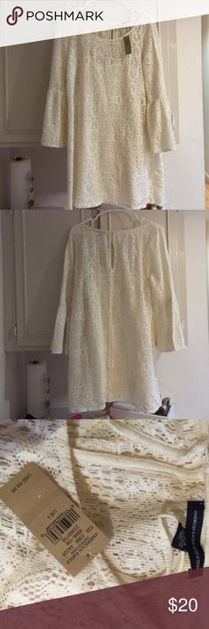 Ivory lace overset tunic American eagle ivory over let tunic/dress with slip. New with tags never worn. American Eagle Outfitters Tops Tunics