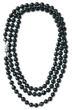 """La Coco Jet Faceted Necklace--Black, Jet black glass beads are hand knotted on thread.  Approximately 60"""" in length for a 1, 2, 3 or 4 time wrap"""