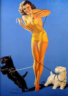 "Tangled Pinup | Tattoo Ideas & Inspiration - Pinups | Rolf Armstrong: ""Let's Get Together"". Brunette pinup girl with two dogs, 1940."